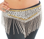Sequin Belly Dance Costume Belt with Beaded Fringe - SILVER / GOLD