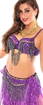 Cabaret Belly Dance Bra & Belt (bedlah) with Fringe - PURPLE / GOLD