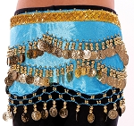 Kids Size Velvet Belly Dance Hip Scarf Belt with Coins - BLUE TURQUOISE / GOLD