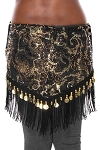 Belly Dance Sequin Hip Scarf with Fringe & Coins - BLACK / GOLD