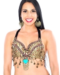Arabia Coin Belly Dance Bra Top with Swags & Turquoise Medallion