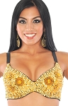 36 C/D Sequin Beaded Costume Bra on Black Base - GOLD