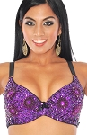 36 C/D Sequin Beaded Costume Bra on Black Base - PURPLE