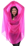 Silk Belly Dance Veil - HOT PINK FUCHSIA
