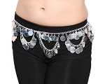 Lightweight Metal Coin Belly Dance Belt with Swags - SILVER