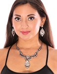 Arabesque Dark Crystal and Rhinestone Teardrop Necklace Set - HEMATITE