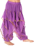 KIDS Endless Wave Bollywood Ruffle Harem Pants - PURPLE - size MEDIUM