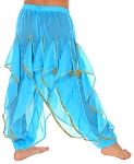 KIDS Endless Wave Bollywood Ruffle Belly Dance Harem Pants - BLUE TURQUOISE
