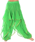 KIDS Endless Wave Bollywood Ruffle Belly Dance Harem Pants - GREEN