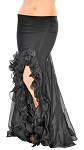 Trumpet Mermaid Skirt with Ruffles & Slits - BLACK