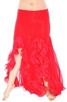 Trumpet Mermaid Skirt with Ruffles & Slits - RED