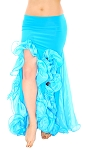 Trumpet Mermaid Skirt with Ruffles & Slits - BLUE TURQUOISE