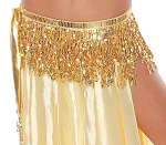 Sequin Fringe Metallic Hipscarf Belly Dance Belt - GOLD