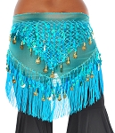 Tie-Dye Triangle Hip Scarf with Teardrop Paillettes, Fringe, & Coins - TURQUOISE