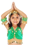 Kids Size Sparkle Dot Belly Dance Costume Top with Coins - GREEN / GOLD