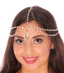 Elegant Pearl & Rhinestone Belly Dance Bollywood Headpiece