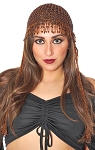 Cleopatra Beaded Belly Dance Headpiece with Long Fringe - COPPER