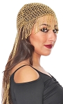 Cleopatra Beaded Belly Dance Headpiece with Long Fringe - GOLD
