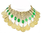Belly Dance Coin Necklace with Glass Charms - GOLD / GREEN