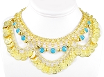 Coin Belly Dance Necklace with Bells and Glass Charms - GOLD / TURQUOISE