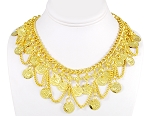 Classic Coin Belly Dance Necklace with Chain Swags - GOLD