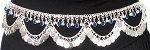 Metal Belly Dance Coin Belt with Bells, Glass Charms, and Swags - SILVER / BLUE