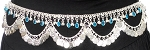 Metal Belly Dance Coin Belt with Bells, Glass Charms, and Swags - SILVER / TURQUOISE