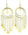Double Hoop Earrings with Faux Coins - GOLD