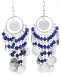 Coin Earrings with Glass Beads - SILVER / BLUE