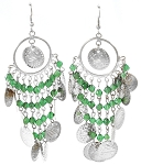 Belly Dance Costume Coin Earrings with Glass Beads - SILVER / GREEN
