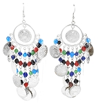 Coin Earrings with Glass Beads - SILVER / MULTI