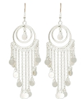 Double Hoop Belly Dance Costume Earrings with Faux Coins - SILVER