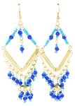 Gold Diamond Beaded Belly Dance Costume Earrings - BLUE & TURQUOISE