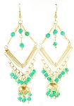 Gold Diamond Beaded Belly Dance Costume Earrings - GREEN