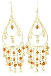 Golden Teardrop Beaded Earrings with Bells - AMBER