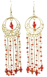 Gold Filigree Beaded Dangle Belly Dance Earrings - RED