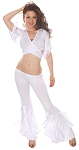 Belly Dance Fusion Ruffle Pants Set - WHITE