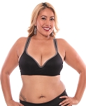 Comfortable Practice Wear Push-Up Bra Top - BLACK / CHARCOAL