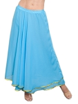 2-Layer Chiffon Belly Dance Skirt with Trim - BLUE TURQUOISE / GOLD