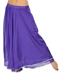 2-Layer Chiffon Belly Dance Costume Skirt with Trim - PURPLE / SILVER