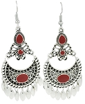 Moroccan Style Filigree Drop Earrings - SILVER / RED