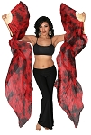 Belly Dance Silk Fan Veils (Set of 2) - Tie Dye  DRAGONS BLOOD