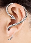 Twisted Serpent Snake Ear Cuff - ANTIQUE SILVER