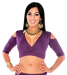 Open Shoulder Half Top Dance Choli - DARK PURPLE PLUM
