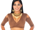 Open Shoulder Half Top Dance Choli - CHOCOLATE