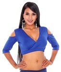 Open Shoulder Half Top Dance Choli - ROYAL BLUE