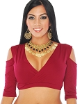 Open Shoulder Half Top Dance Choli - BURGUNDY