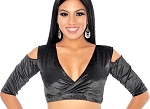 Open Shoulder Velvet Tribal Choli Top - BLACK