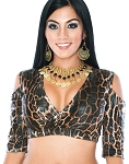 Open Shoulder Half Top Dance Choli - JUNGLE LEOPARD