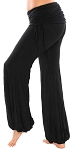 Comfortable Dance Fusion Harem Pants with Ruched Overskirt - BLACK